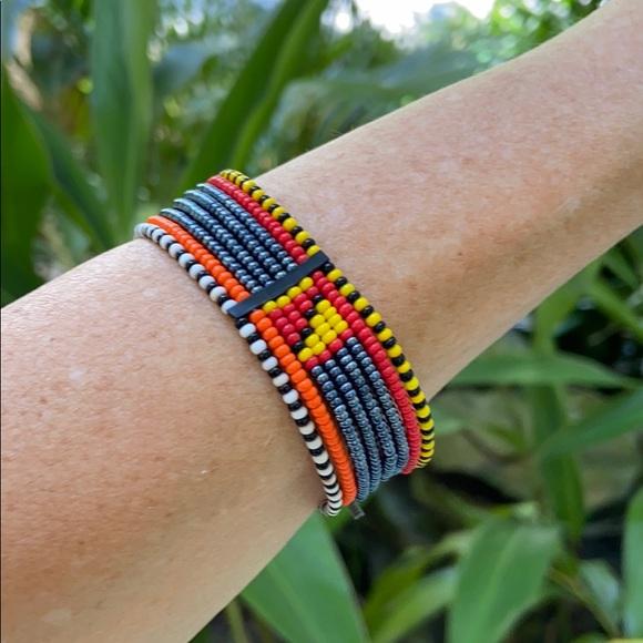 Bracelet Beaded Orange Black White Bead Bangle Bracelet